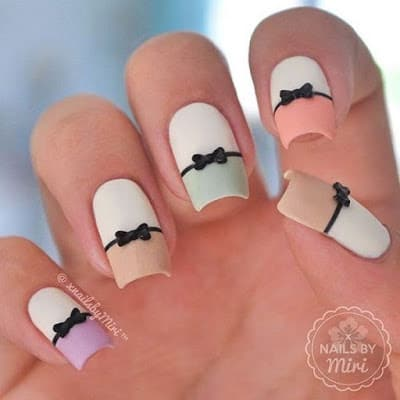 Stylish-and-Cute-Nail-Designs-with-Bows-and-Diamonds-for-Girls-2