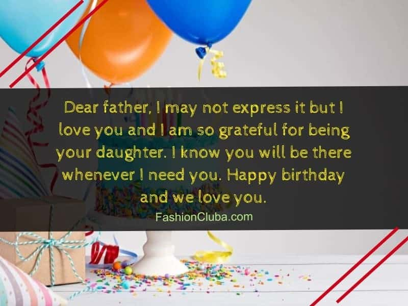 Birthday Wishes For Father From Daughter