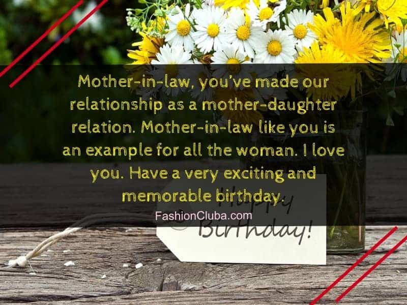 cute happy birthday wishes for mother-in-law from daughter