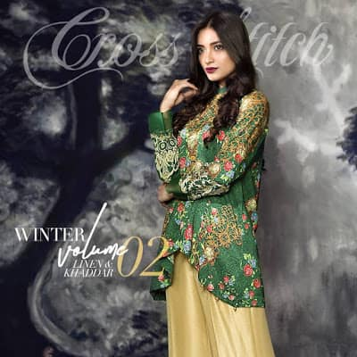 cross stitch winter linen khaddar dresses Collection 2018 (1)