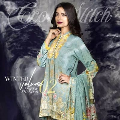 cross stitch winter linen khaddar dresses Collection 2018 (4)