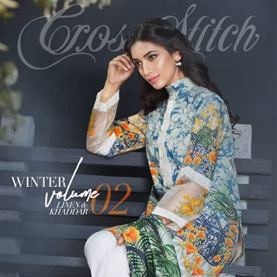 cross stitch winter linen khaddar dresses Collection 2018 (7)