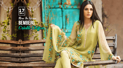 Motifz Embroidered Bemberg Crinkle Chiffon Dresses 2018 Vol-1