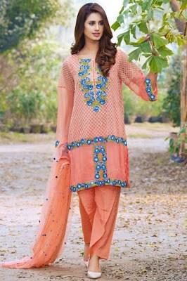 Motifz lawn embroidered chiffon dress