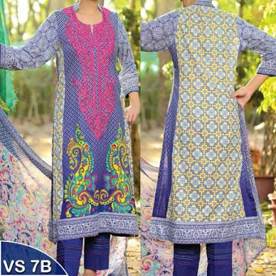 VS Textile Unstitched Embroidered Lawn Suits