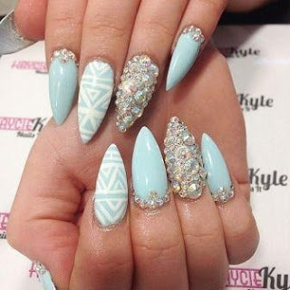 Baby-blue-gold-stiletto-nail-designs
