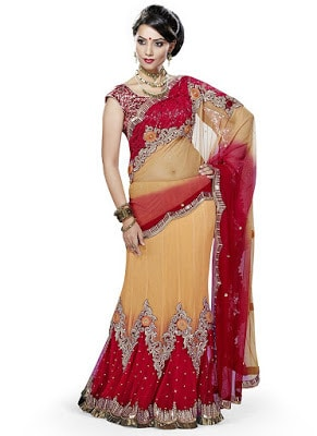 Beautiful Crystals Enhanced Net Lehenga Saree