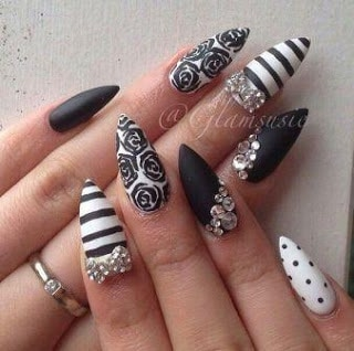 Black-and-white-stiletto-nails-with-diamonds