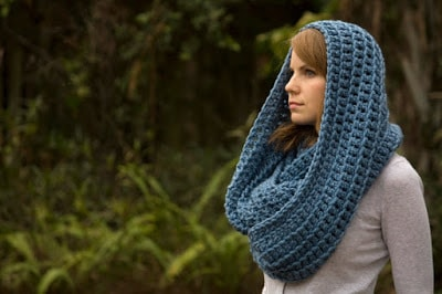 Crochet Infinity Scarf, Chunky Cowl, Hooded Scarf, Sky Blue Oversized Wool Blend