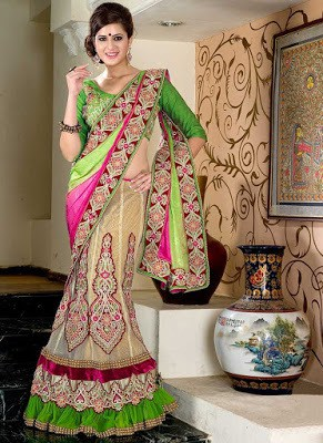 Dashing Multicolored Chiffon Lehenga Style Saree