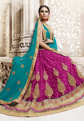 Embroidered Net A Line Lehenga in Fuchsia