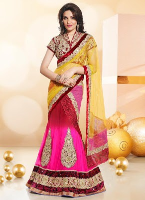 Enticing Embroidered Net Lehenga Saree