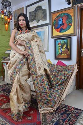Indian Muga Silk Saree designs
