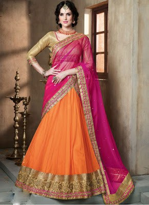 Indian heavy bridal lehenga saree
