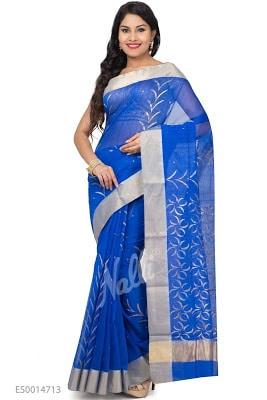 Royal Blue Chanderi Silk Saree