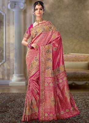 Traditional-indian-banarasi-silk-saree-new-styles-for-girls-2