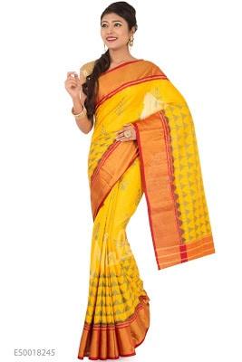Yellow Rajkot Patola Silk Saree with Ikat design on body and Zari border