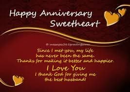 anniversary wishes to husband by wife