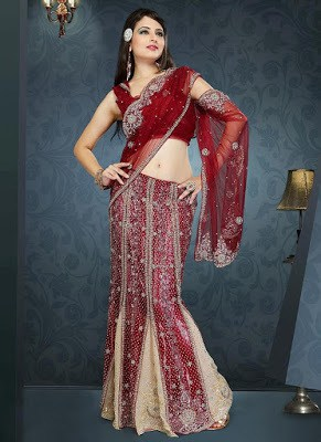 awesome-cream-and-maroon-lehenga-style-saree