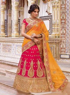 hot-pink-latest-indian-bridal-ghagra-choli-in-raw-silk