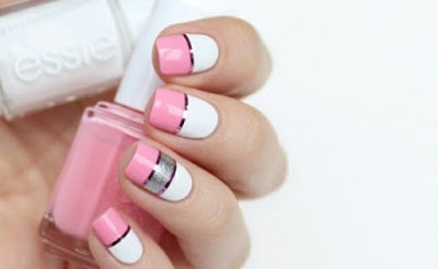 Model-nail-gel-manicure-white-in-decoration-pink-lines-straight-shiny