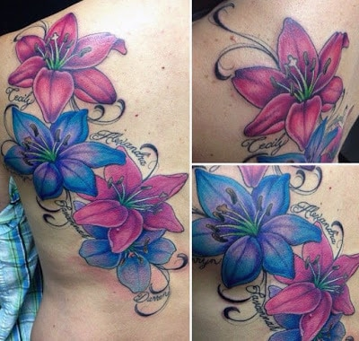 Courful-pink-and-blue-Lily-flower-tattoo-on-side