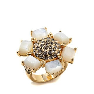 Mother of Pearl and Crystal Flower Ring Jewelry