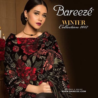 Bareeze winter shawl dresses designs collection 2018 for girls