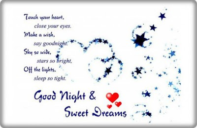 Messages to say good night to her sweetheart