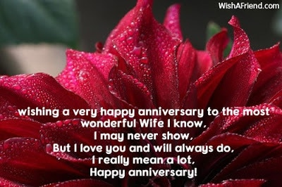 Wedding anniversary wishes from wife to husband